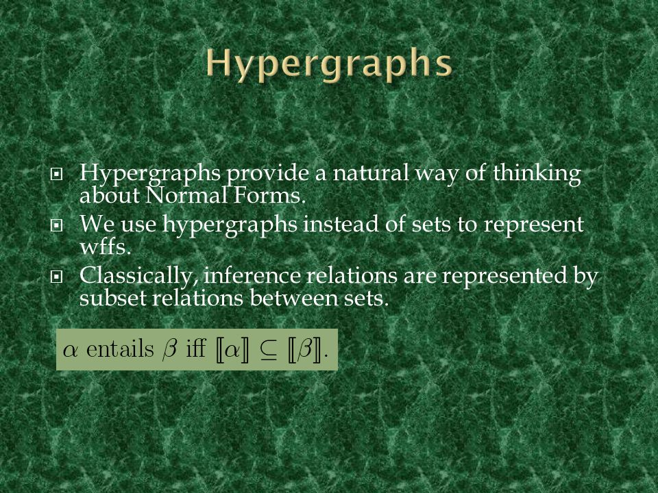  Inference relations are represented by relations between hypergraphs.