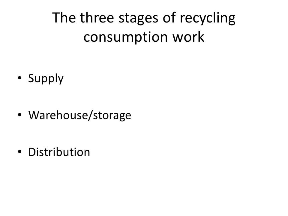 The three stages of recycling consumption work Supply Warehouse/storage Distribution