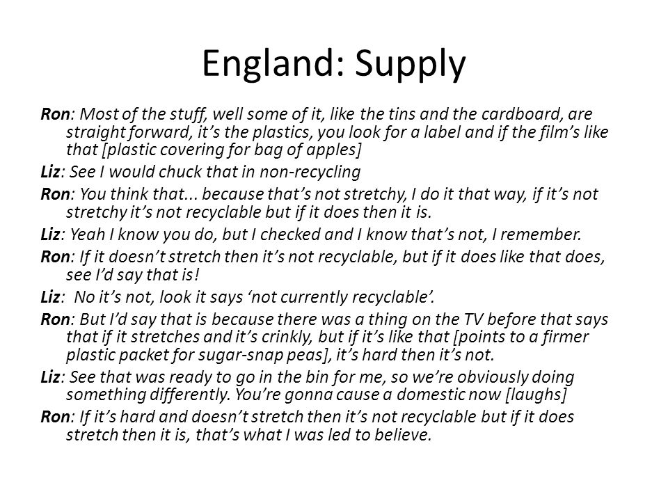 England: Supply Ron: Most of the stuff, well some of it, like the tins and the cardboard, are straight forward, it's the plastics, you look for a label and if the film's like that [plastic covering for bag of apples] Liz: See I would chuck that in non-recycling Ron: You think that...