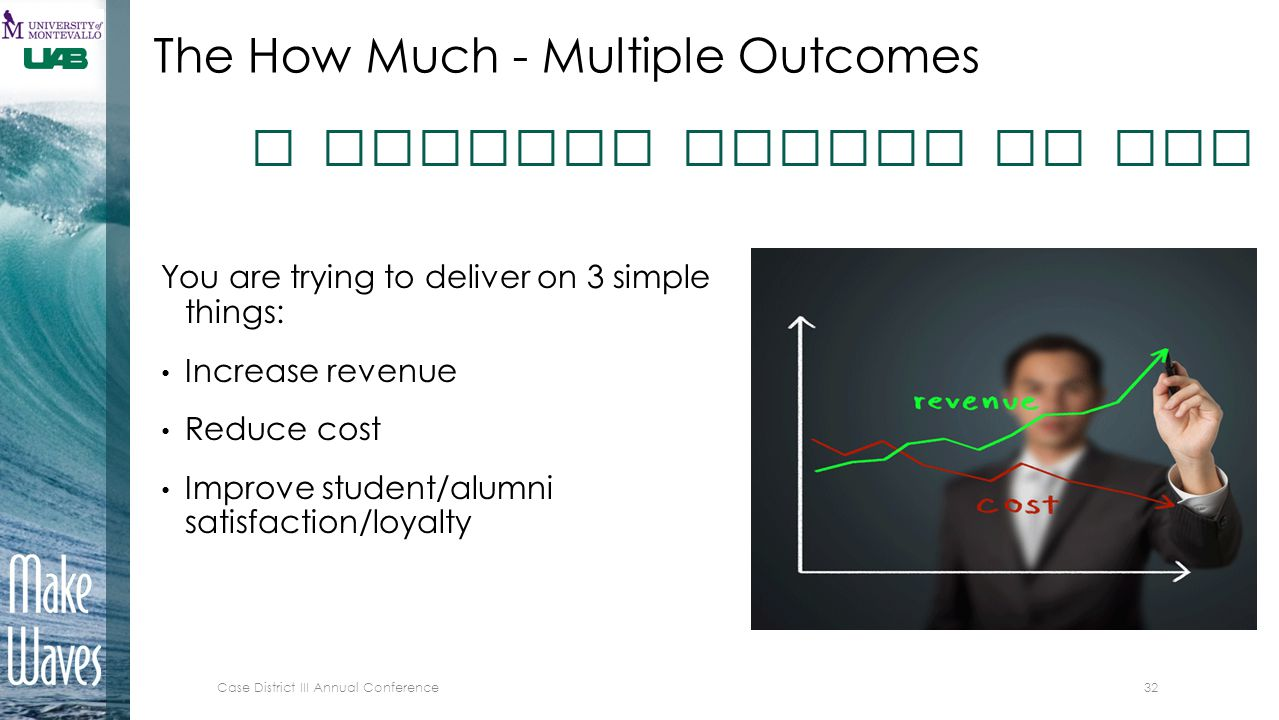The How Much - Multiple Outcomes You are trying to deliver on 3 simple things: Increase revenue Reduce cost Improve student/alumni satisfaction/loyalt