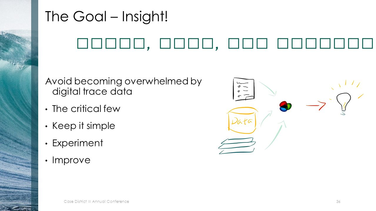 The Goal – Insight! Avoid becoming overwhelmed by digital trace data The critical few Keep it simple Experiment Improve Adapt, test, and measure outco