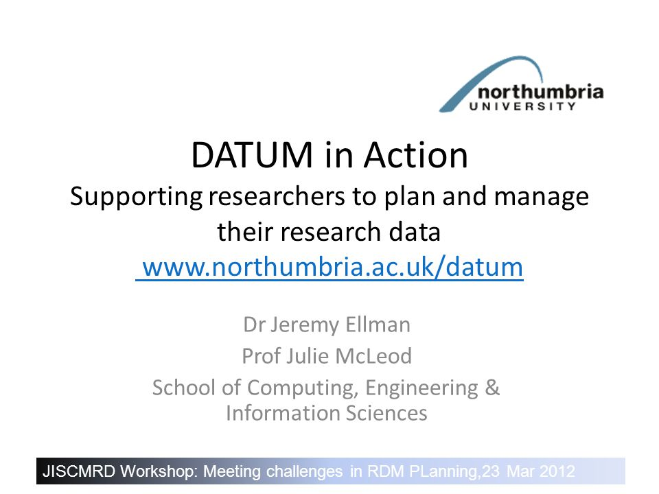 DATUM in Action – Healthy research needs healthy data 11 Technology infrastructure SharePoint