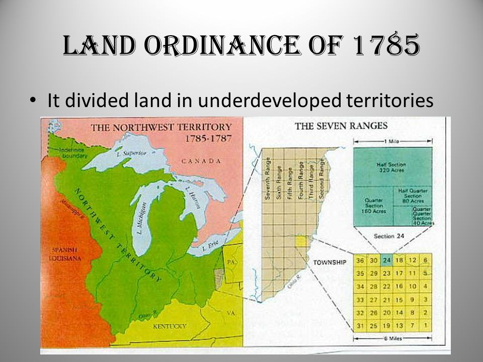 Land Ordinance of 1785 It divided land in underdeveloped territories