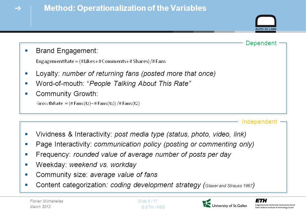 © ETH / HSG Florian Michahelles March 2013 Slide 6 / 17 Method: Operationalization of the Variables  Brand Engagement:  Loyalty: number of returning fans (posted more that once)  Word-of-mouth: People Talking About This Rate  Community Growth:  Vividness & Interactivity: post media type (status, photo, video, link)  Page Interactivity: communication policy (posting or commenting only)  Frequency: rounded value of average number of posts per day  Weekday: weekend vs.