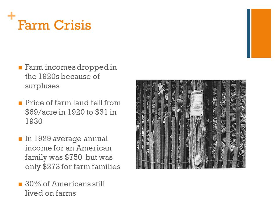 + Farm Crisis Farm incomes dropped in the 1920s because of surpluses Price of farm land fell from $69/acre in 1920 to $31 in 1930 In 1929 average annual income for an American family was $750 but was only $273 for farm families 30% of Americans still lived on farms