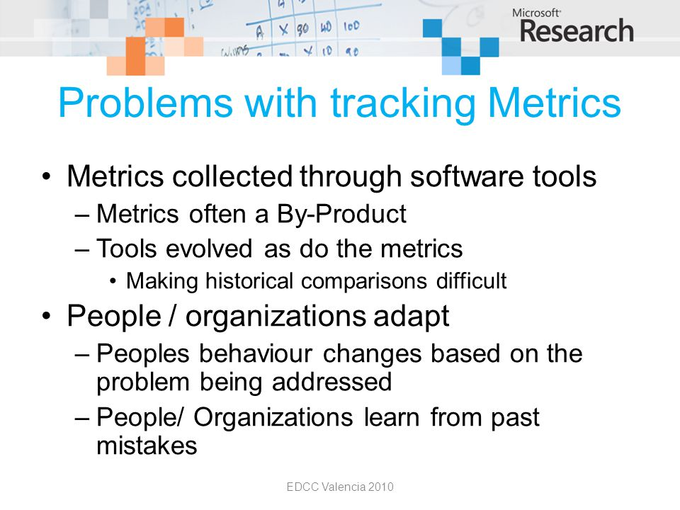 Problems with tracking Metrics Metrics collected through software tools –Metrics often a By-Product –Tools evolved as do the metrics Making historical comparisons difficult People / organizations adapt –Peoples behaviour changes based on the problem being addressed –People/ Organizations learn from past mistakes EDCC Valencia 2010