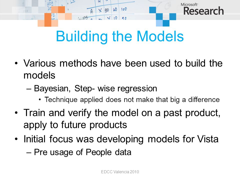 Building the Models Various methods have been used to build the models –Bayesian, Step- wise regression Technique applied does not make that big a dif