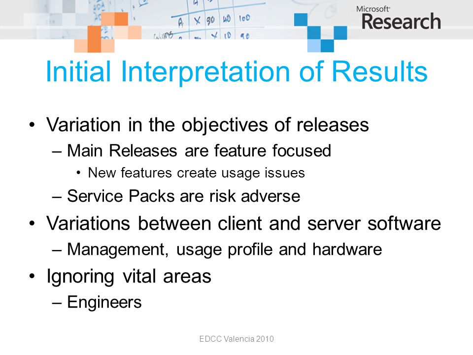 Initial Interpretation of Results Variation in the objectives of releases –Main Releases are feature focused New features create usage issues –Service Packs are risk adverse Variations between client and server software –Management, usage profile and hardware Ignoring vital areas –Engineers EDCC Valencia 2010