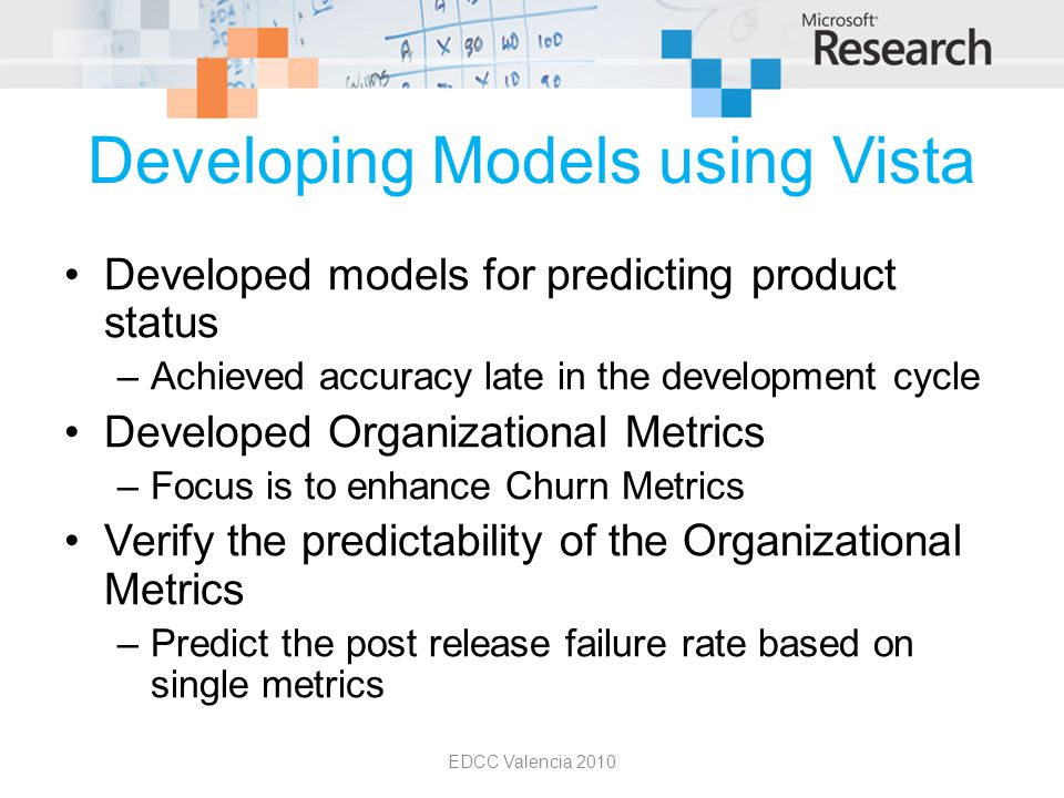 Developing Models using Vista Developed models for predicting product status –Achieved accuracy late in the development cycle Developed Organizational