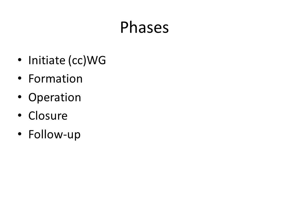 Phases Initiate (cc)WG Formation Operation Closure Follow-up