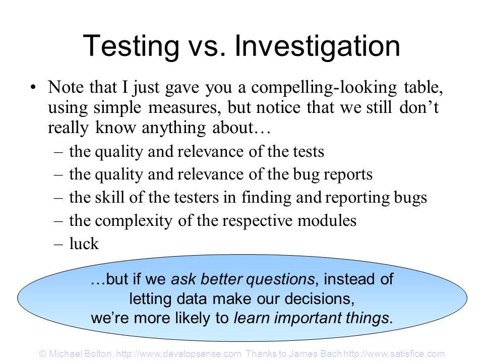 © Michael Bolton, http://www.developsense.com Thanks to James Bach http://www.satisfice.com Testing vs.