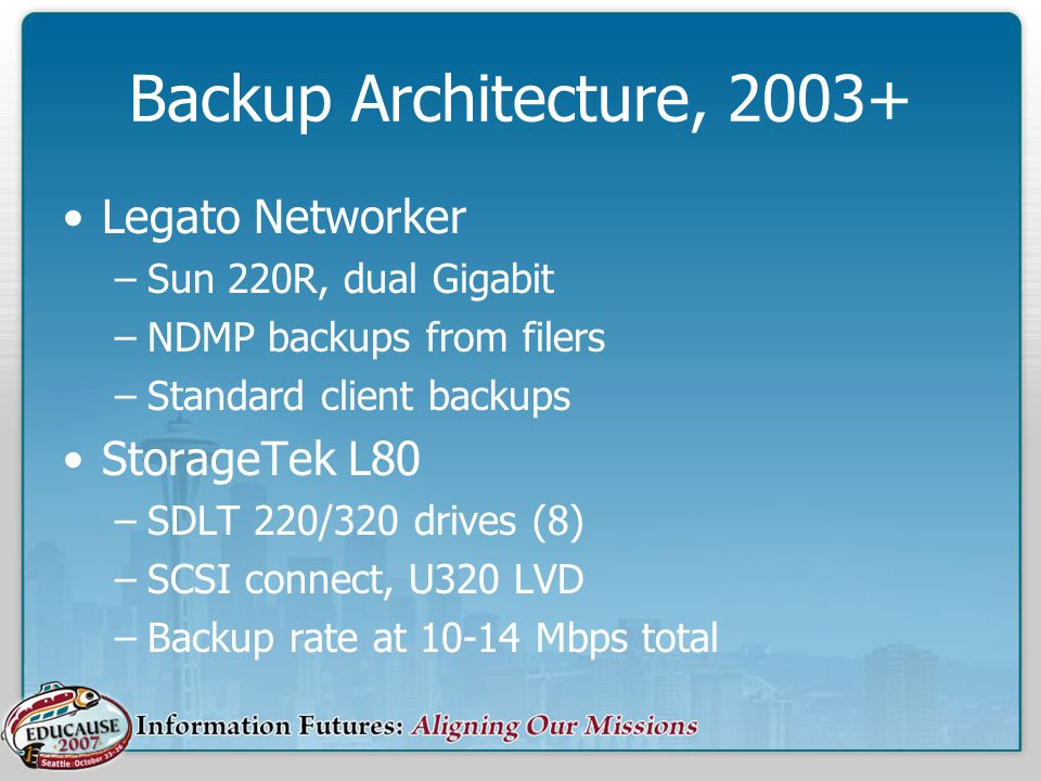 Backup Architecture, 2003+ Legato Networker –Sun 220R, dual Gigabit –NDMP backups from filers –Standard client backups StorageTek L80 –SDLT 220/320 drives (8) –SCSI connect, U320 LVD –Backup rate at 10-14 Mbps total