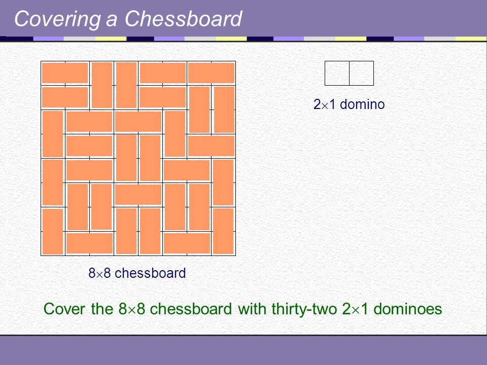 Covering a Chessboard 8  8 chessboard 2  1 domino Cover the 8  8 chessboard with thirty-two 2  1 dominoes