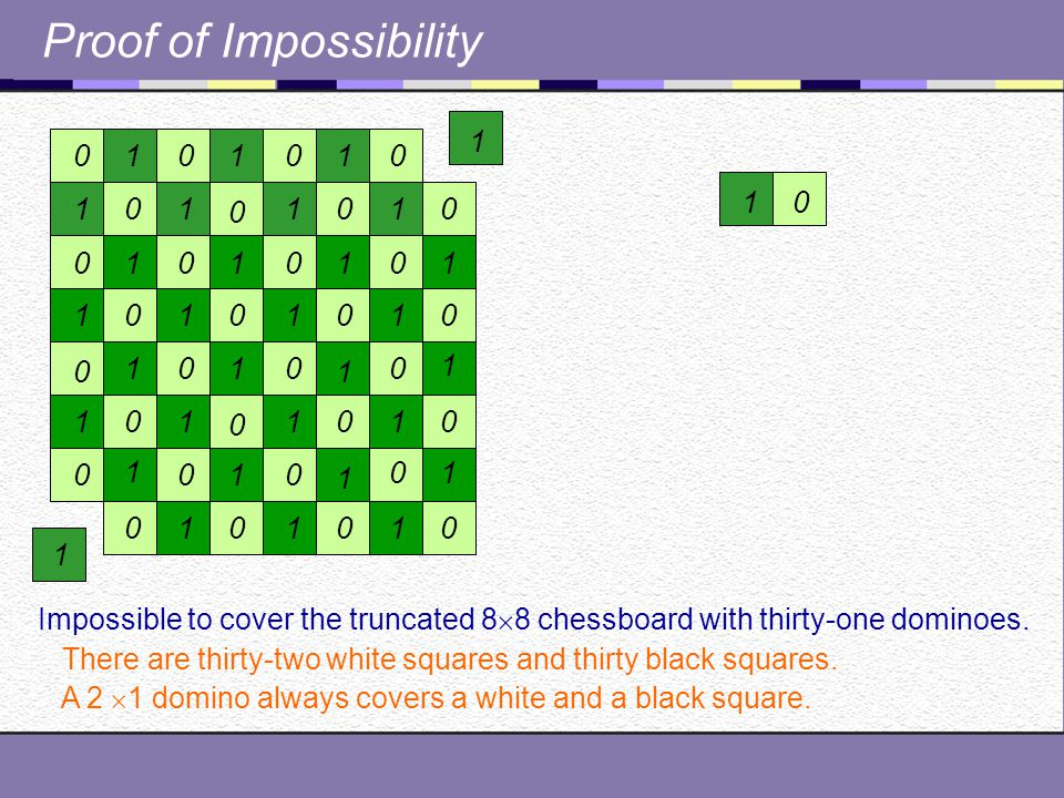 Proof of Impossibility Impossible to cover the truncated 8  8 chessboard with thirty-one dominoes.