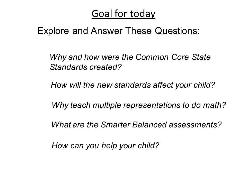 Goal for today Explore and Answer These Questions: Why and how were the Common Core State Standards created.