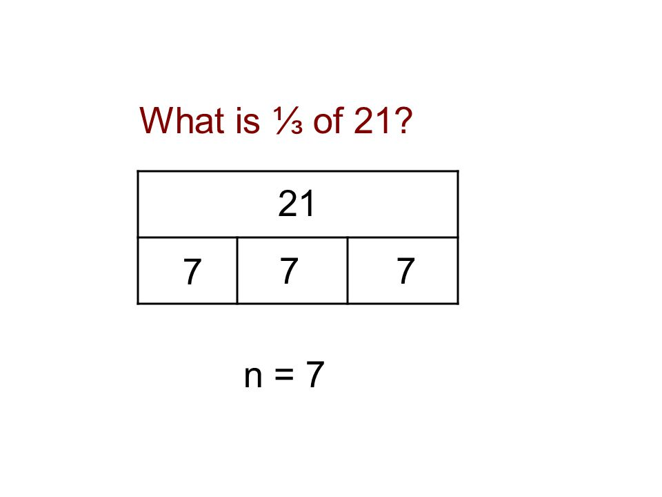 21 n n = 7 77 7 What is ⅓ of 21