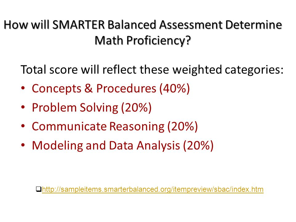 How will SMARTER Balanced Assessment Determine Math Proficiency.
