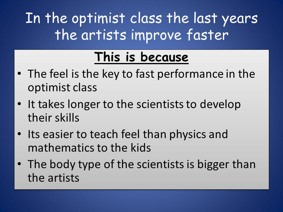 In the optimist class the last years the artists improve faster This is because The feel is the key to fast performance in the optimist class It takes