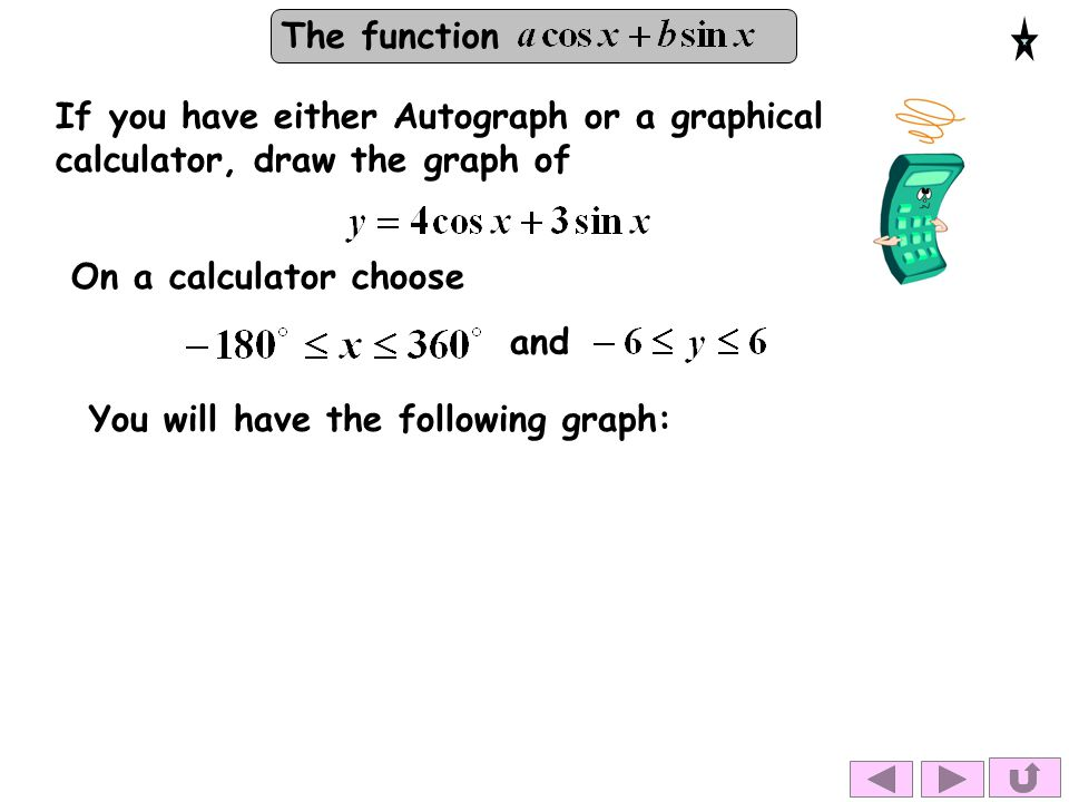 The function If you have either Autograph or a graphical calculator, draw the graph of You will have the following graph: On a calculator choose and