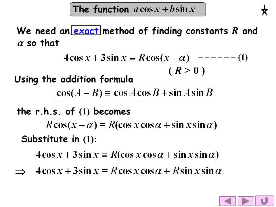 The function We need an exact method of finding constants R and  so that Using the addition formula the r.h.s. of (1) becomes Substitute in (1): ( R