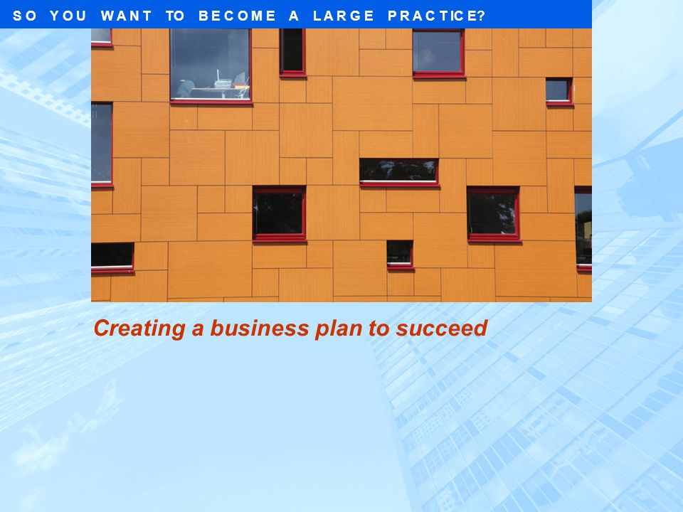 S O Y O U W A N T TO B E C O M E A L A R G E P R A C T IC E? Creating a business plan to succeed