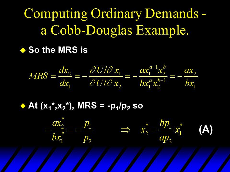 Computing Ordinary Demands - a Cobb-Douglas Example. u So the MRS is u At (x 1 *,x 2 *), MRS = -p 1 /p 2 so (A)