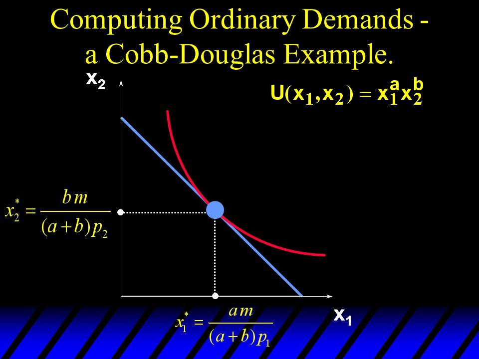 Computing Ordinary Demands - a Cobb-Douglas Example. x1x1 x2x2