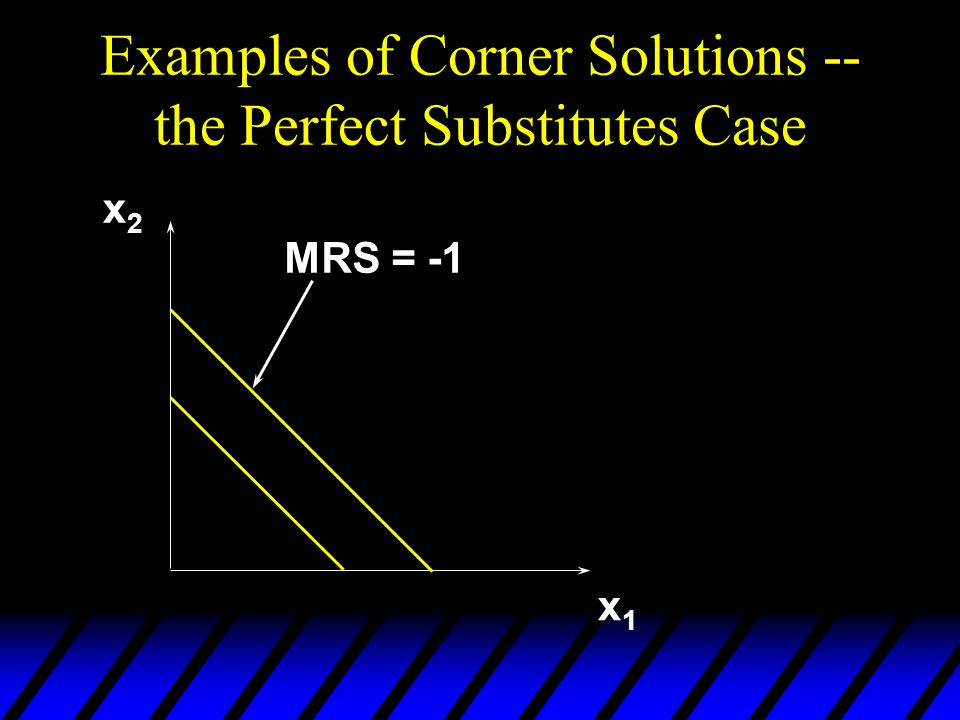 Examples of Corner Solutions -- the Perfect Substitutes Case x1x1 x2x2 MRS = -1