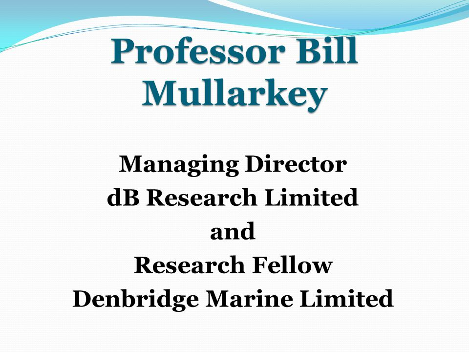 Professor Bill Mullarkey Managing Director dB Research Limited and Research Fellow Denbridge Marine Limited