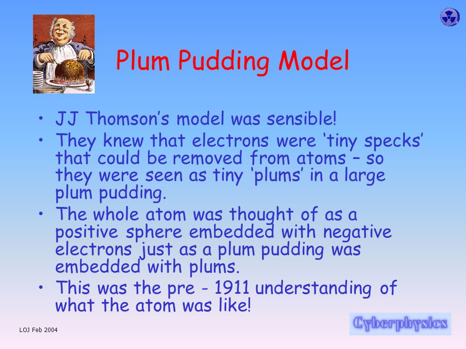 LOJ Feb 2004 Plum Pudding Model JJ Thomson's model was sensible.