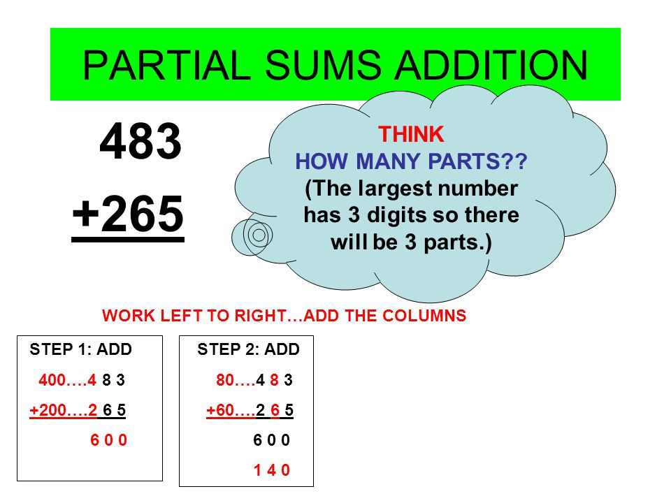 PARTIAL SUMS ADDITION 483 +265 THINK HOW MANY PARTS?? (The largest number has 3 digits so there will be 3 parts.) WORK LEFT TO RIGHT…ADD THE COLUMNS S