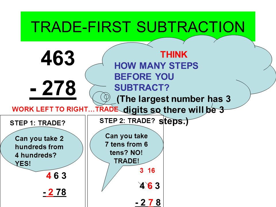 TRADE-FIRST SUBTRACTION 463 - 278 THINK HOW MANY STEPS BEFORE YOU SUBTRACT.