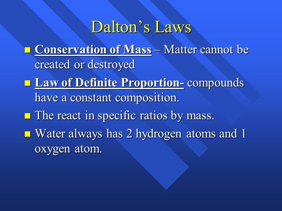 Dalton's Atomic Theory 1) Elements are made up of atoms 2) Atoms of each element are identical. Atoms of different elements are different. 3) Compound