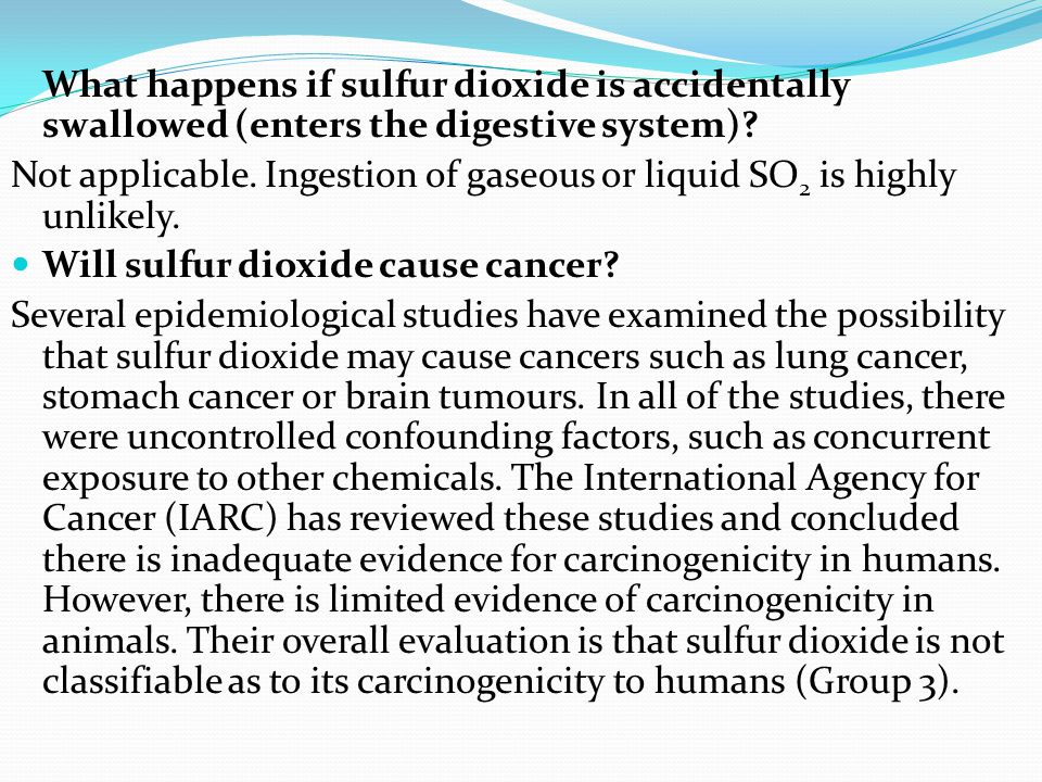 Contact with sulfur dioxide ! What happens when sulfur dioxide comes into contact with my skin? The gas will react with moisture on the skin and cause