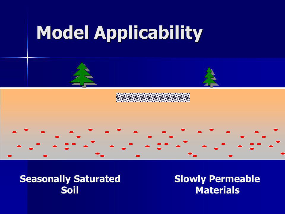 Model Applicability Seasonally Saturated Soil Slowly Permeable Materials