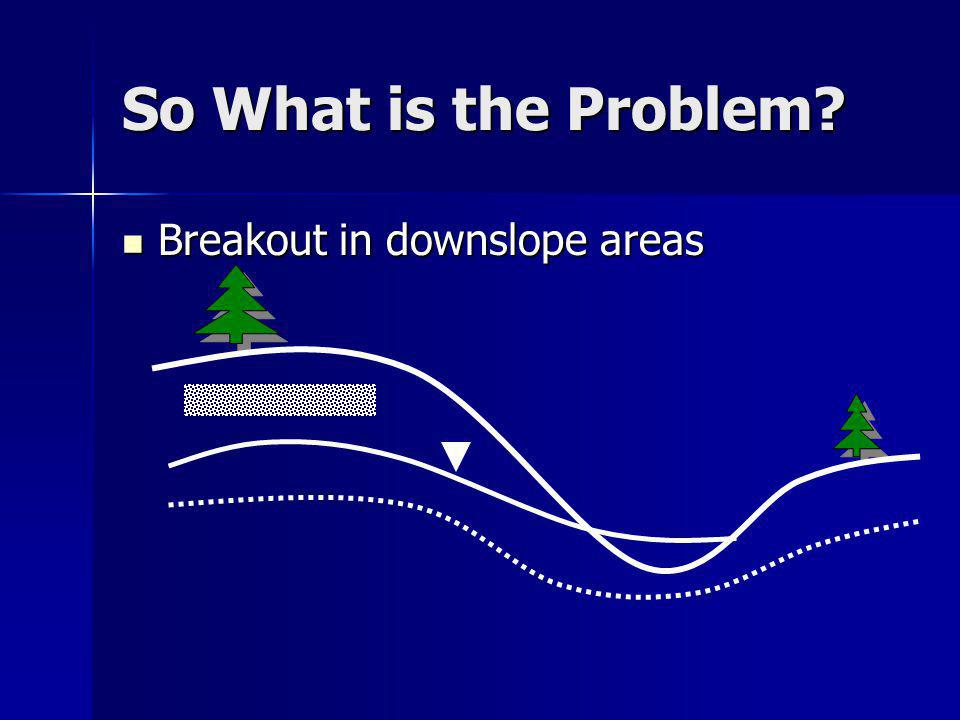 So What is the Problem? Breakout in downslope areas Breakout in downslope areas