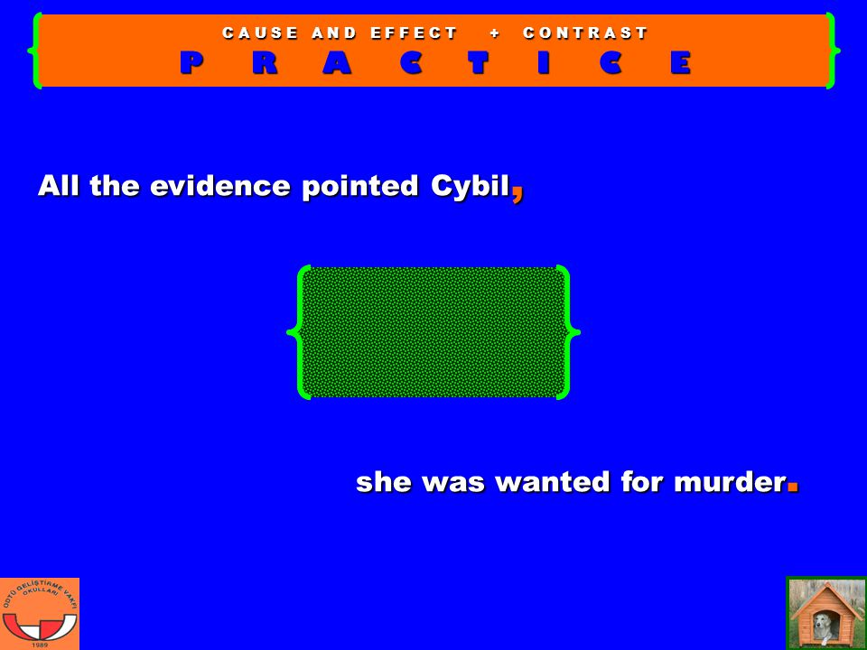 C A U S E A N D E F F E C T + C O N T R A S T P R A C T I C E all the evidence pointed Cybil, she was wanted for murder.