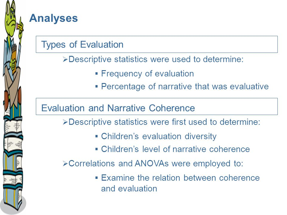 Analyses Types of Evaluation  Descriptive statistics were used to determine:  Frequency of evaluation  Percentage of narrative that was evaluative Evaluation and Narrative Coherence  Descriptive statistics were first used to determine:  Children's evaluation diversity  Children's level of narrative coherence  Correlations and ANOVAs were employed to:  Examine the relation between coherence and evaluation