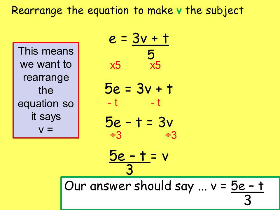 Rearrange the equation to make p the subject m = p + n m - n = p 2(m – n) = p - n x2 This means we want to rearrange the equation so it says p = Our answer should say...