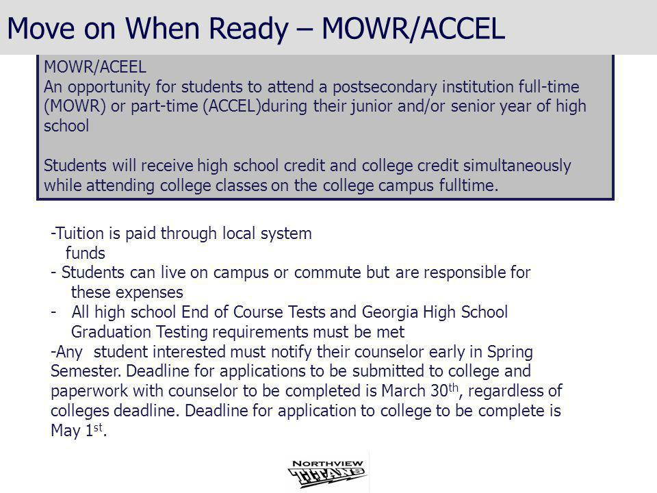 Georgia High School Graduation Tests (GHSGT) End of Course Test (EOCT)/Georgia High School Graduation Test (GHSGT) For each subject, students may either pass the GHSGT content area or substitute a passing score on one of the two EOCTs offered in each subject.