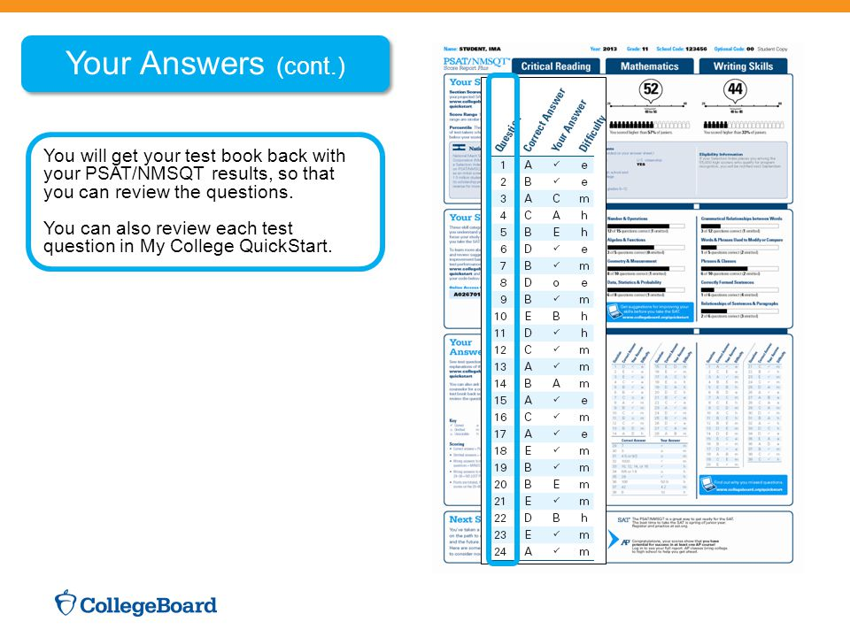 Your Answers (cont.) You will get your test book back with your PSAT/NMSQT results, so that you can review the questions.