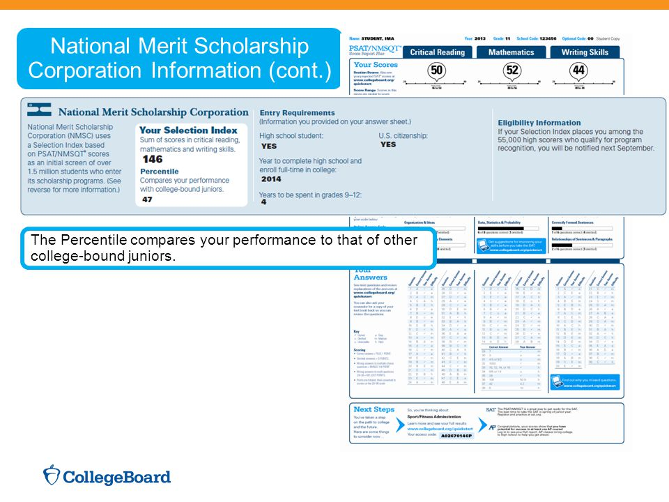National Merit Scholarship Corporation Information (cont.) The Percentile compares your performance to that of other college-bound juniors.