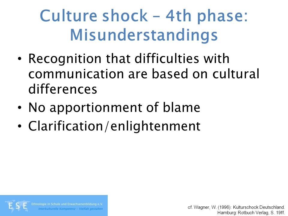 Culture shock – 4th phase: Misunderstandings Recognition that difficulties with communication are based on cultural differences No apportionment of bl