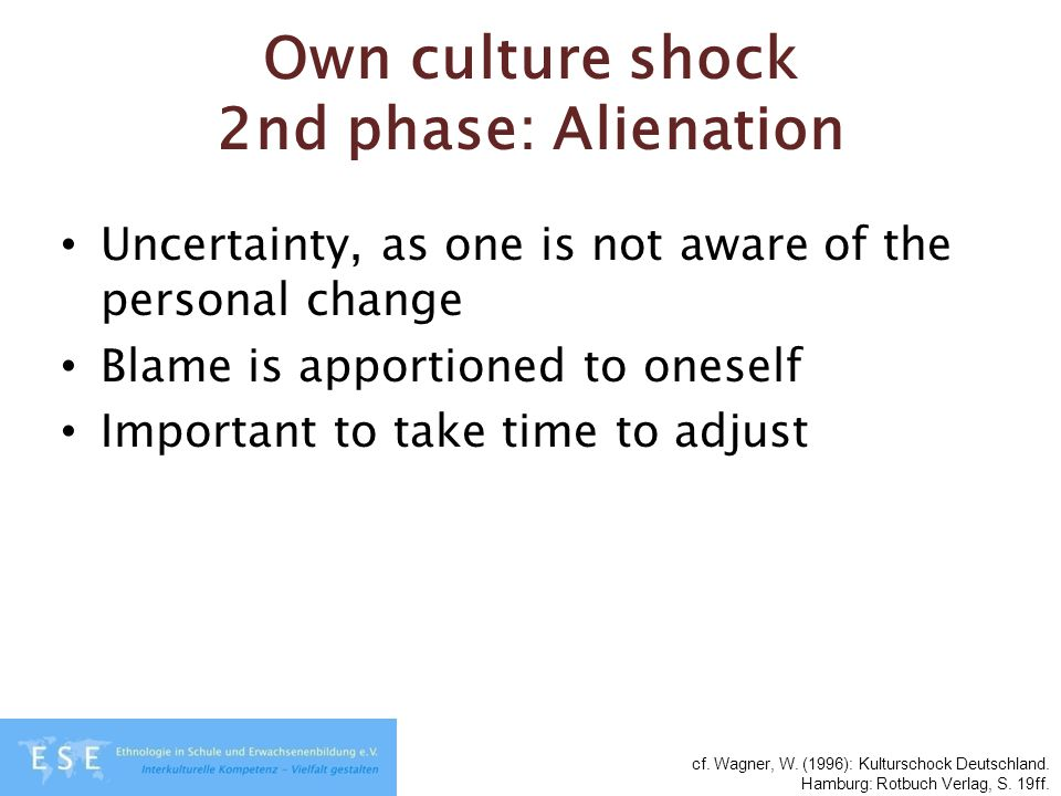 Own culture shock 2nd phase: Alienation Uncertainty, as one is not aware of the personal change Blame is apportioned to oneself Important to take time to adjust cf.