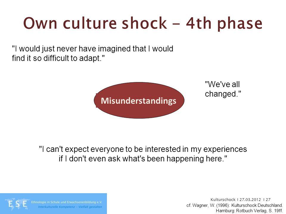 Kulturschock I 27.03.2012 I 27 Own culture shock - 4th phase Misunderstandings