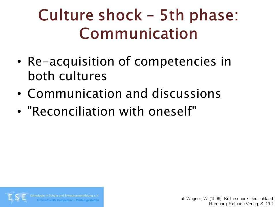 Culture shock – 5th phase: Communication Re-acquisition of competencies in both cultures Communication and discussions
