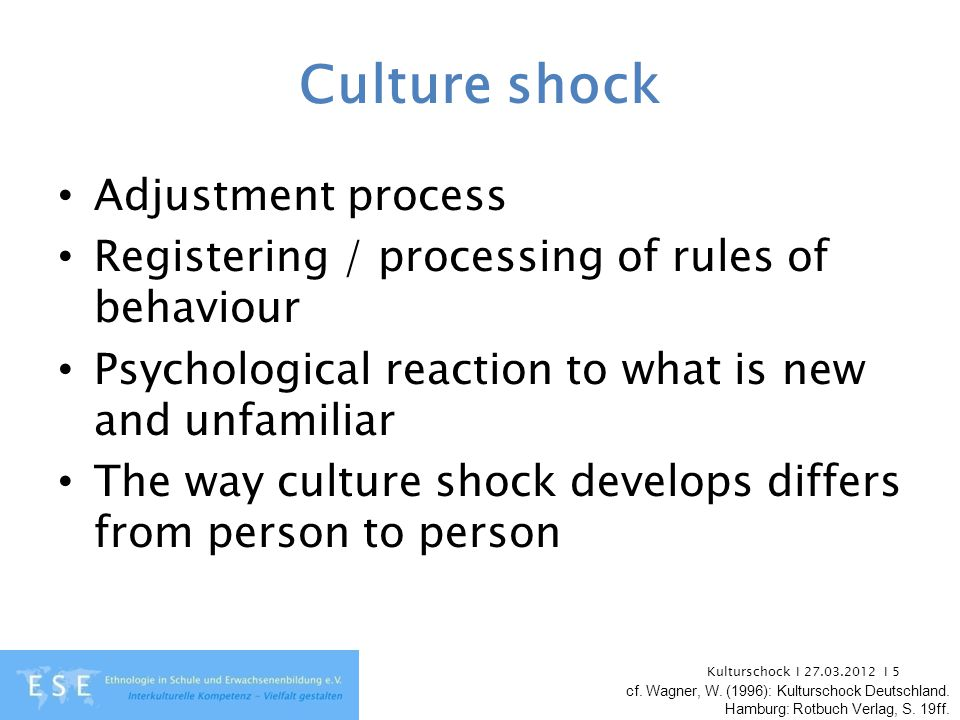 Kulturschock I 27.03.2012 I 5 Culture shock Adjustment process Registering / processing of rules of behaviour Psychological reaction to what is new an