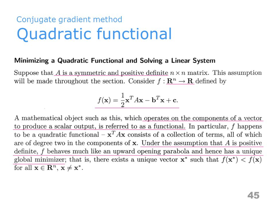 Conjugate gradient method Quadratic functional 45