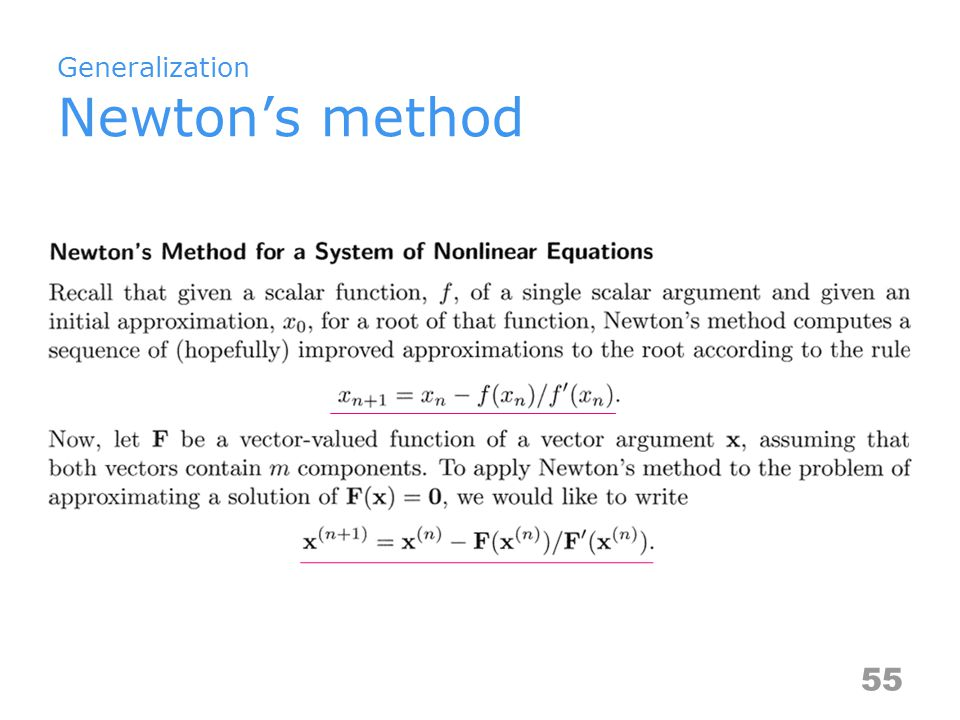 Generalization Newton's method 55