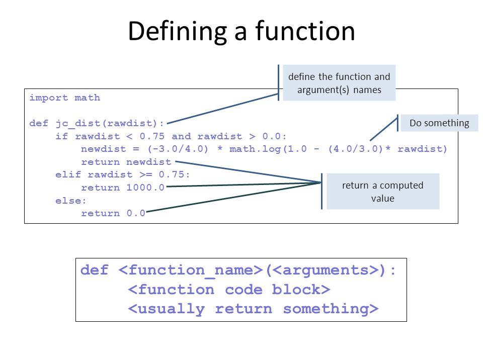 import math def jc_dist(rawdist): if rawdist 0.0: newdist = (-3.0/4.0) * math.log(1.0 - (4.0/3.0)* rawdist) return newdist elif rawdist >= 0.75: retur